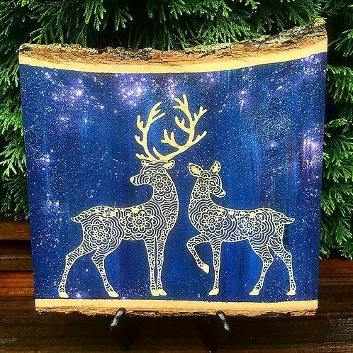 Live Edge Stag and Deer Mandala