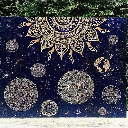 Solar System Mandala Engraving