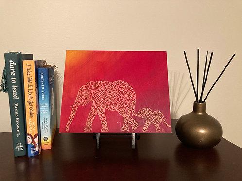 Mama and baby Elephant Mandala