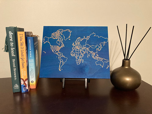 Engraved World Map with US States and Countries