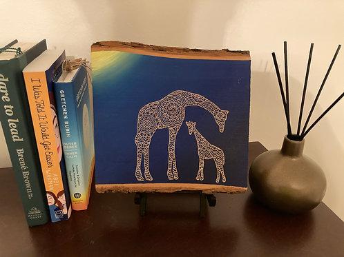 Live Edge Mama and baby giraffe mandala engraving