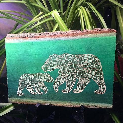 Live Edge mama and baby bear mandala engraving