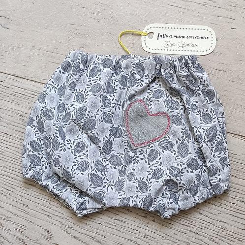 Culotte fiori e foglie toni del grigio
