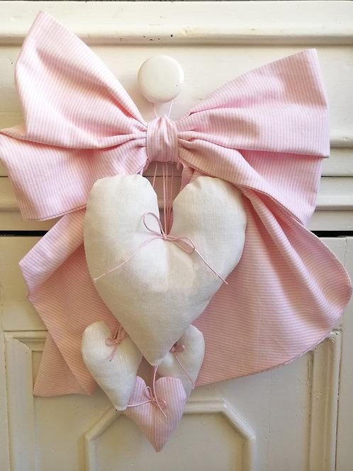 Fiocco nascita rosa con cuori