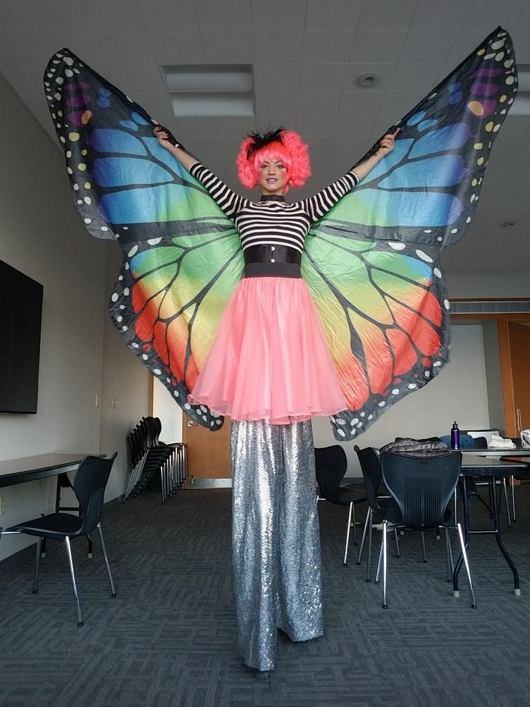 Anna on Stilts as a Butterfly