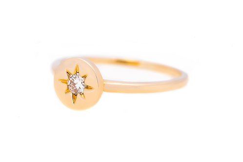 Star Diamond Signet Ring