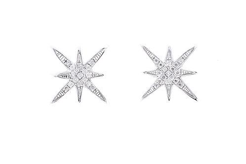 Star Burst Diamond Earrings