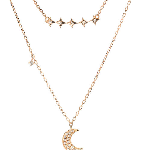 On the Moon, Beneath the Stars Double Chain Diamond Necklace