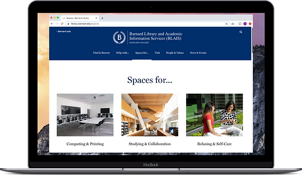 Barnard Library website, spaces for page, shown on laptop