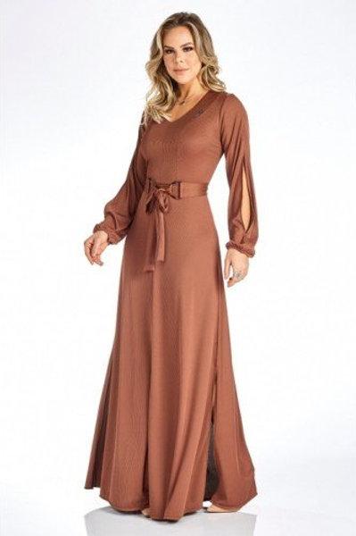 Vestido Longo Com Fendas Via Tolentino