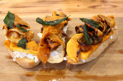 Goat cheese with pumpkin on ciabatta