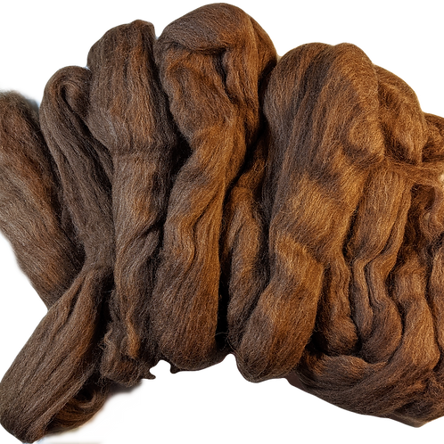 Elena - 26 micron brown wool top - 4 oz