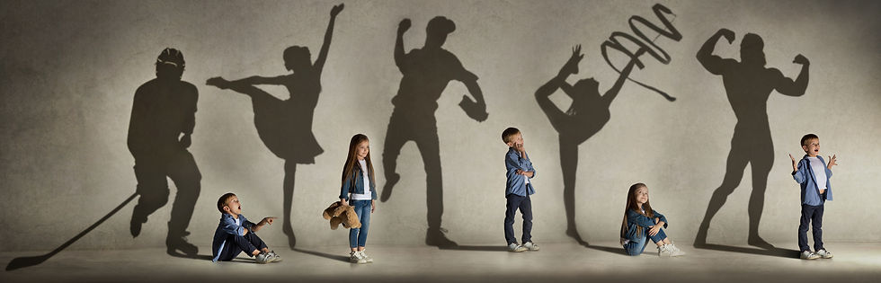 5 children in front of adult sized shadows of themselves, imagining their future growth potential
