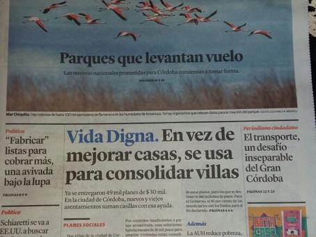 Muy contento con una nota de tapa en el diario de ayer sobre el futuro Parque Nacional Ansenuza y tr