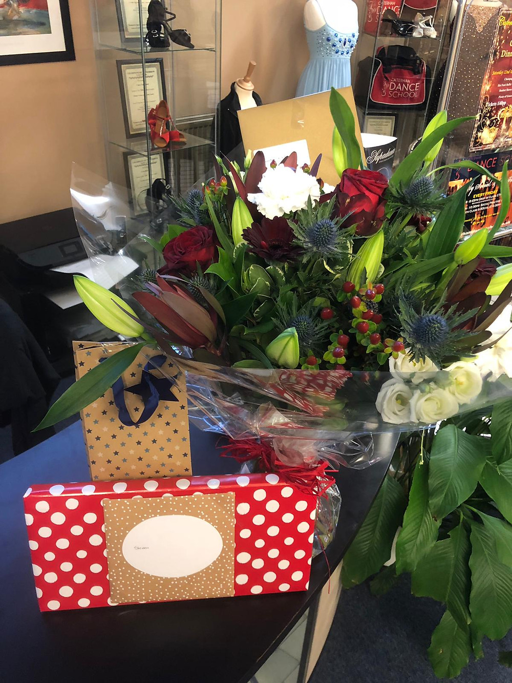 Some flowers of thanks, amongst amazing messages and cards