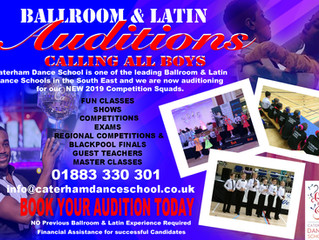 CALLING ALL BOYS - AUDITIONS 5+ Yrs for Ballroom & Latin Squad Places