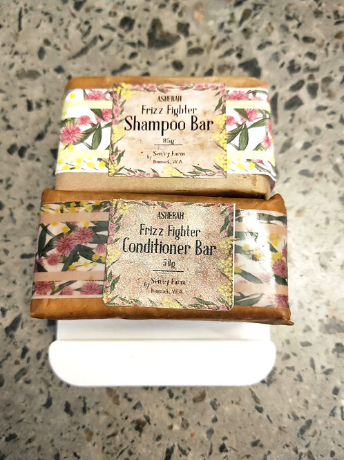 Frizz Fighter  Shampoo &Conditioner with Soap Dish