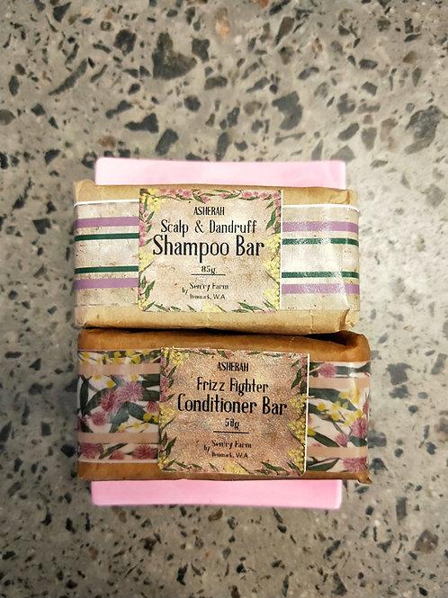 Scalp & Dandruff Shampoo, Frizz Fighter Conditioner and Soap Dish