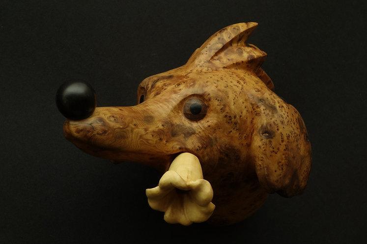 Tête de chien imaginaire à grosse truffe la fleur aux dents. Sculpture en bois de Christian Delacoux, 19 cm de long.