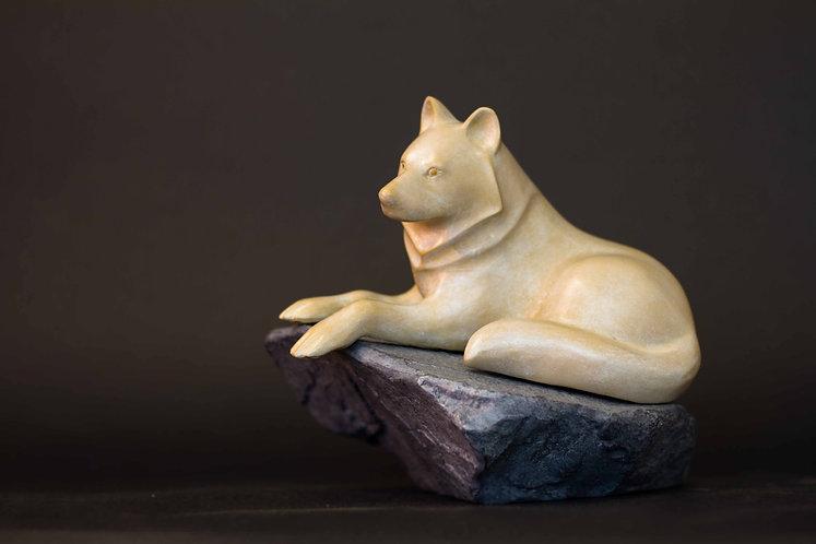 Loup blanc allongé sur un rocher. Sculpture en bronze de Christian Delacoux, h 21 cm
