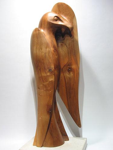 Gypaète barbu, grand rapace des Pyrénées. Sculpture en bois de Christian Delacoux, h 1,05 m.