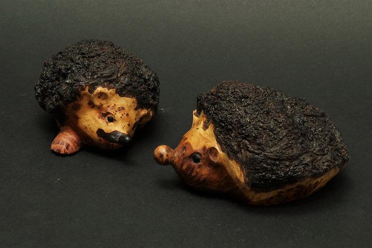 Deux petits hérissons en racine de cade s'observent. Sculpture en bois de Christian Delacoux, h 5 cm.