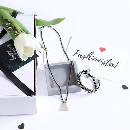 רותם ברנר   מארז מתנה   מתנות לחג   מתנות לאשה   תכשיט במתנה    שרשרת שכבות כסף+צמיד כפול