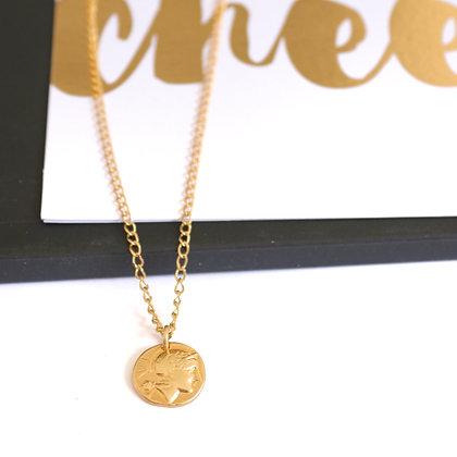 Rotem Brenner Jewelry | רותם ברנר | שרשרת הלני | שרשרת מטבע זהב קצרה