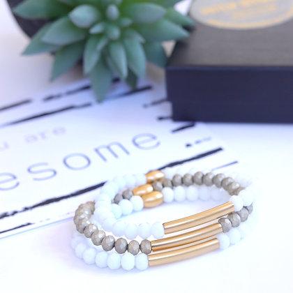 צמיד פולי  | לבן זהב