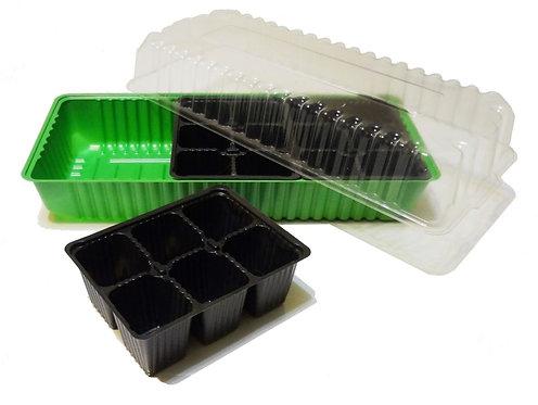 Мини-парник на подоконник 3 вставки х 6 яч., зеленый