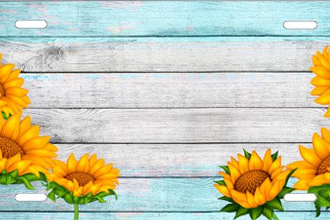 LP1011-Sunflowers on Wood Background