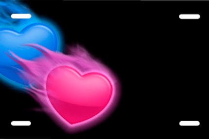 LP00697-Blue and Pink Hearts on Black