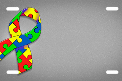 LP00923-Autism Ribbon on Grey