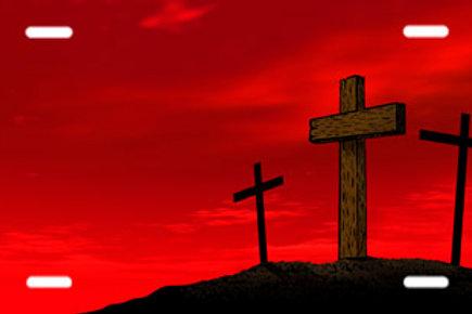 LP00676-Three Crosses on Red