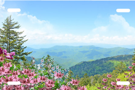 LP001004-Blue Mountain with Pink Flowers