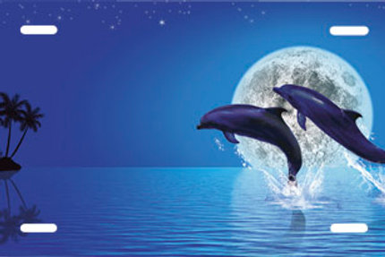LP00692-Two Dolphins and Moon