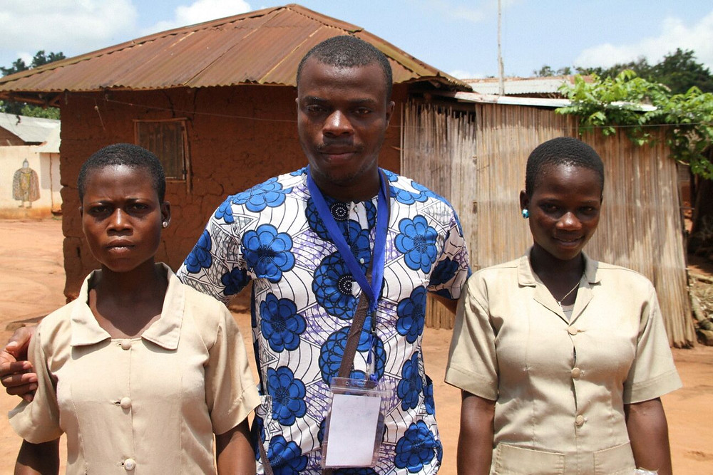 Dehnadi Kpossa our Executive Director with two of our students Rosaline Kandji and Euphrasie Ahlonsou at Togba