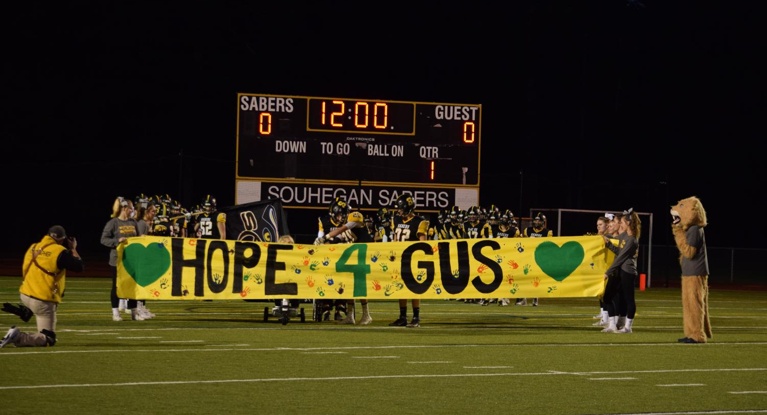 The beginning of the Hope For Gus football game in 2018