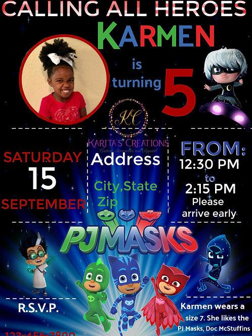 PJ Masks DIGITAL Invite