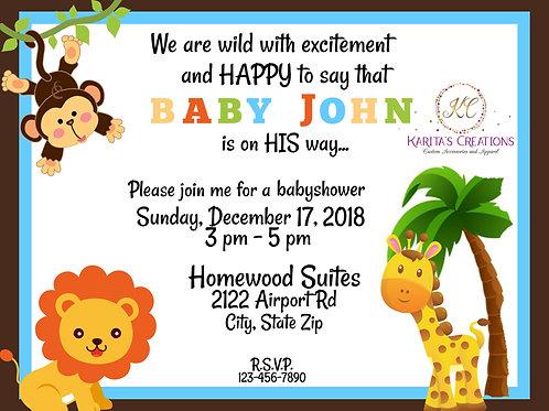 Baby Shower Animal Theme DIGITAL Invite