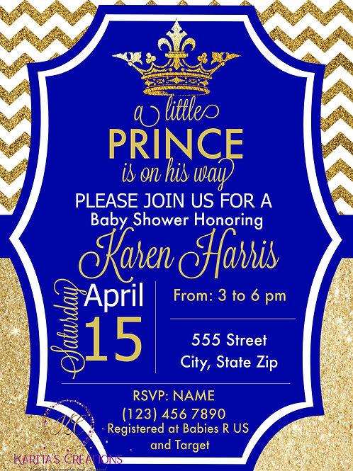 Royal Blue & Gold Baby Shower DIGITAL Invitation