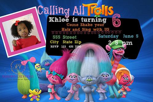 Trolls Birthday DIGITAL Invite