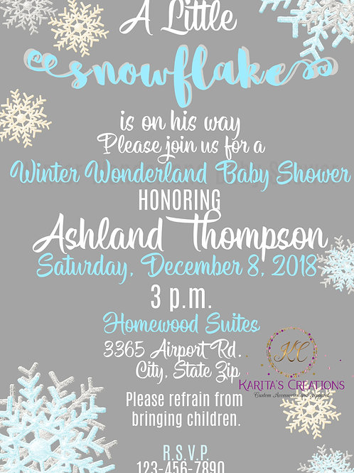 Winter Wonderland Baby Shower DIGITAL Invite