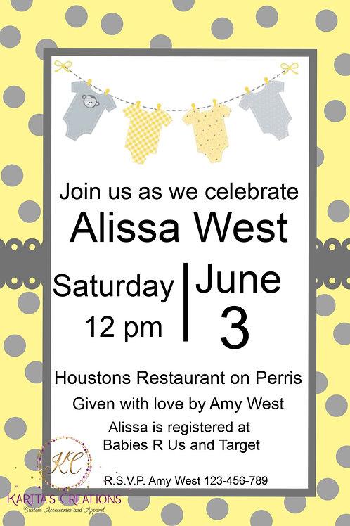 Yellow & Gray Baby Shower DIGITAL Invite