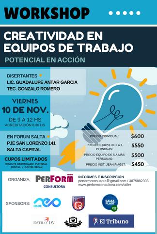 """Workshop - 10 de Noviembre """"Creatividad en Equipos de Trabajo"""" - ANOTATE!"""
