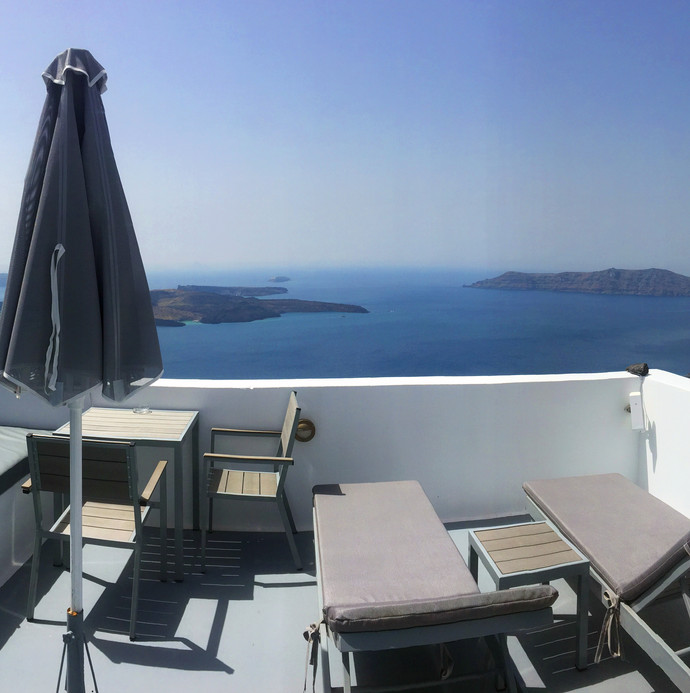 Private terrace with pool views in Santorini