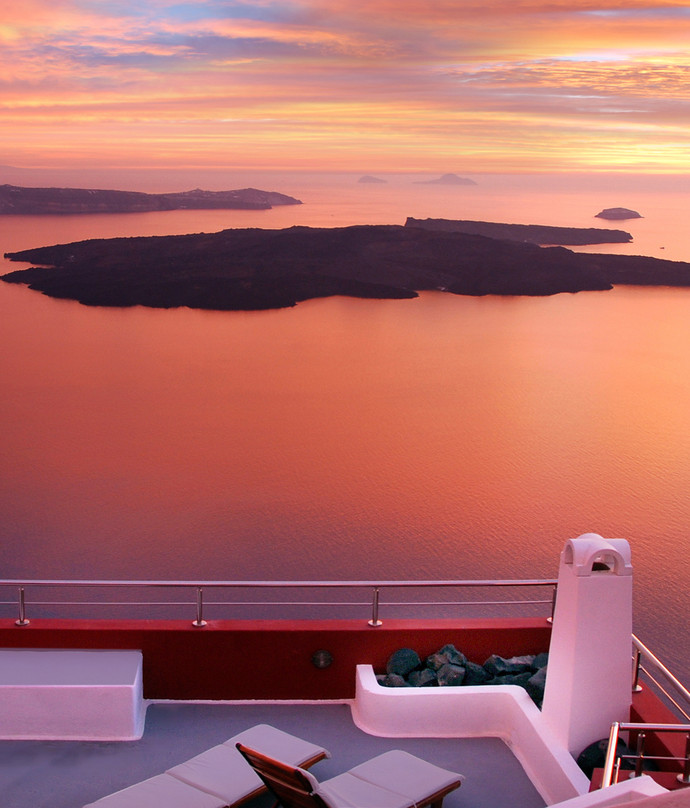 Sunset in Santorini from private terrace