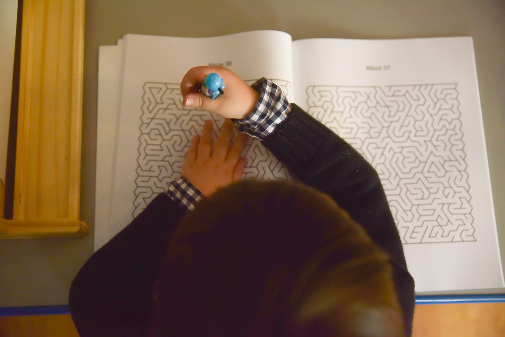 Some things come so easy to my little guy.  He has this love for mazes.  He blows my mind how easy he finds solving them.