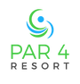 Par4 Resort's Logo with Bistro, Banquets, Hotel, and Golf