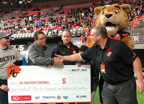 BC Lions Continue Amazing Support for Amateur Football in BC